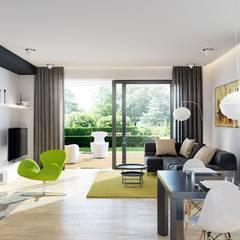 Projekt domu Astrid (mała) G2 | strefa dzienna: styl translation missing: pl.style.salon.nowoczesny, w kategorii Salon zaprojektowany przez Pracownia Projektowa ARCHIPELAG