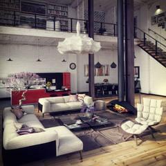 Studio 33: Salas de estar industriais por RIP3D ARCHVIZ