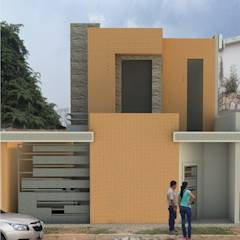 Fachada principal de vivienda unifamiliar FAMILIA SANABRIA: Casas de estilo translation missing: ve.style.casas.eclectico por 3R. ARQUITECTURA