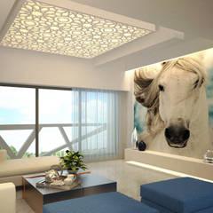 MODERN GREEK THEMED BUNGALOW SCHEME,KHANDALA: mediterranean Living room by AIS Designs