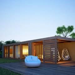 Casa Modular - Fachada: Habitações translation missing: pt.style.habitações.escandinavo por Maqet