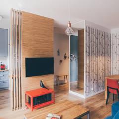 projekt aranżacji apartamentu w Gdyni: styl translation missing: pl.style.salon.nowoczesny, w kategorii Salon zaprojektowany przez em2