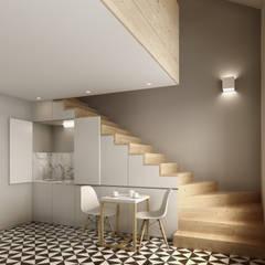 Recuperação do Antigo Colégio de Aldeia da ponte: Salas de jantar minimalistas por David Bilo - Arquitecto