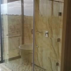 Our range of doors,windows,mirrors,showers,splash backs , etc.......: modern Bathroom by Tech Glass and Aluminium