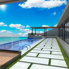 Render Vista Terraza: Piscinas de estilo moderno por Atahualpa 3D