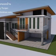 บ้าน1ชั้น ยกสูง: translation missing: th.style.บ-านและที-อยู-อาศัย.modern บ้านและที่อยู่อาศัย by รับเขียนแบบบ้าน&ออกแบบบ้าน