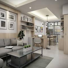 Town home renovation: translation missing: th.style.ห-องนั-งเล-น.scandinavian ห้องนั่งเล่น by The guidelines design studio