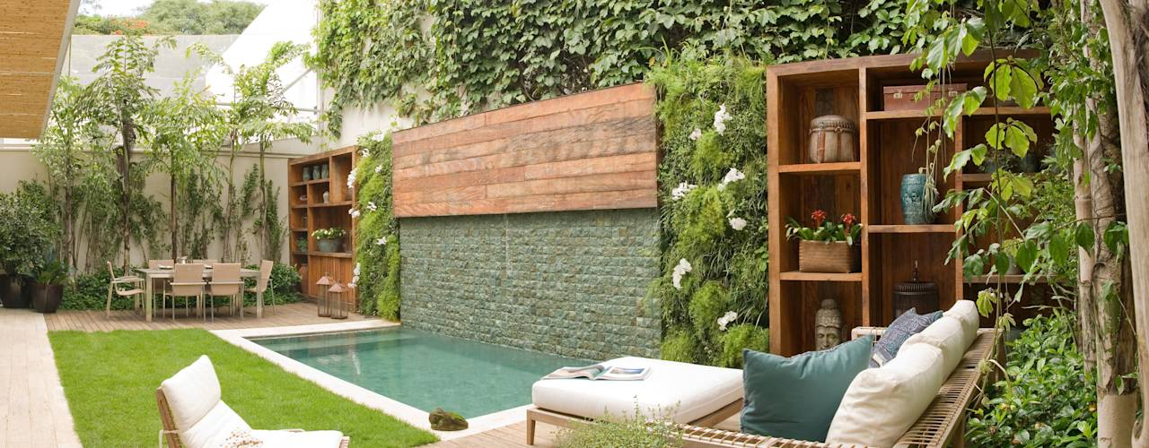 10 dicas timas para ter uma piscina pequena no quintal Fotos de patios de casas pequenas