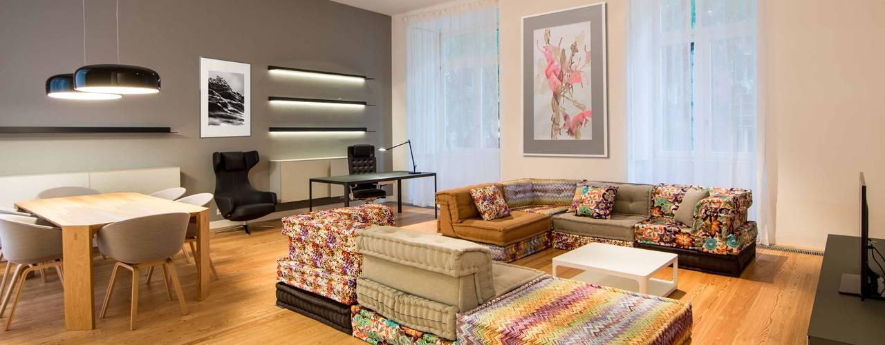 15 inspira es de salas de estar e jantar integradas for Sala de estar pequena con escritorio