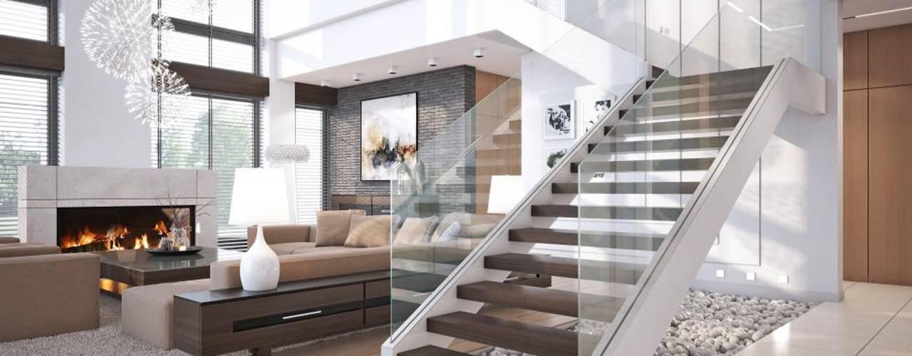 10 kamers met een moderne fantastische trap - Woonkamer met trap ...
