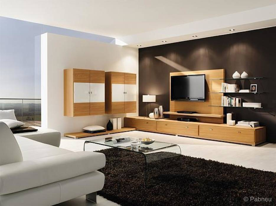 moderne wohnzimmer bilder moderner wohnraum m bel in eiche lackiert homify. Black Bedroom Furniture Sets. Home Design Ideas