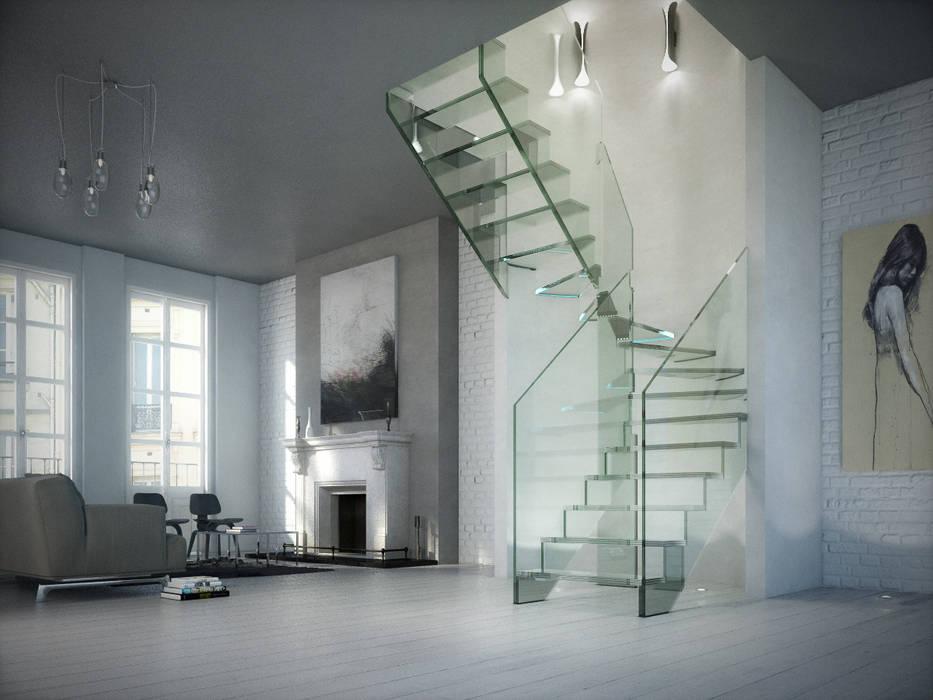 Vestíbulos, pasillos y escaleras de estilo  por Siller Treppen/Stairs/Scale