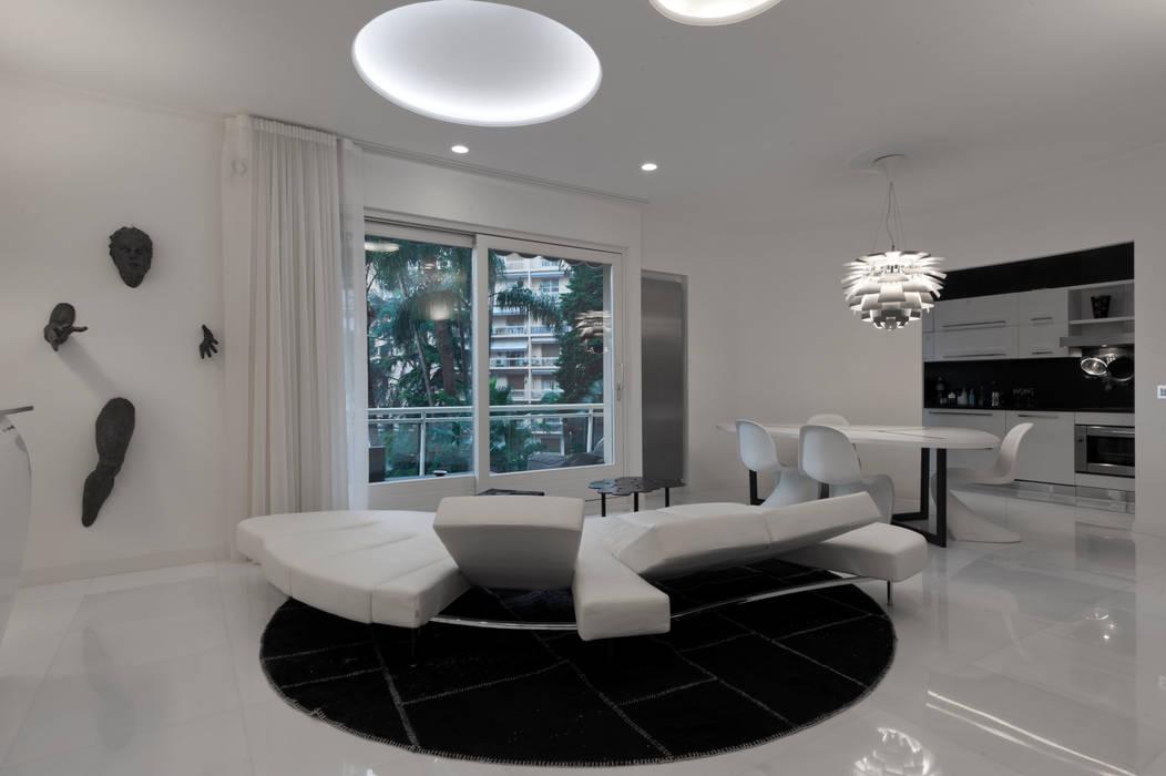 Foto di soggiorno in stile in stile moderno casa joe for Piani di casa 700 piedi quadrati