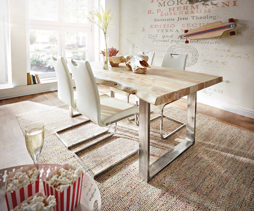 Ausgefallene esszimmer bilder baumtisch kessryn akazie gebleicht mit modernen freischwingern - Baumtisch esszimmer ...