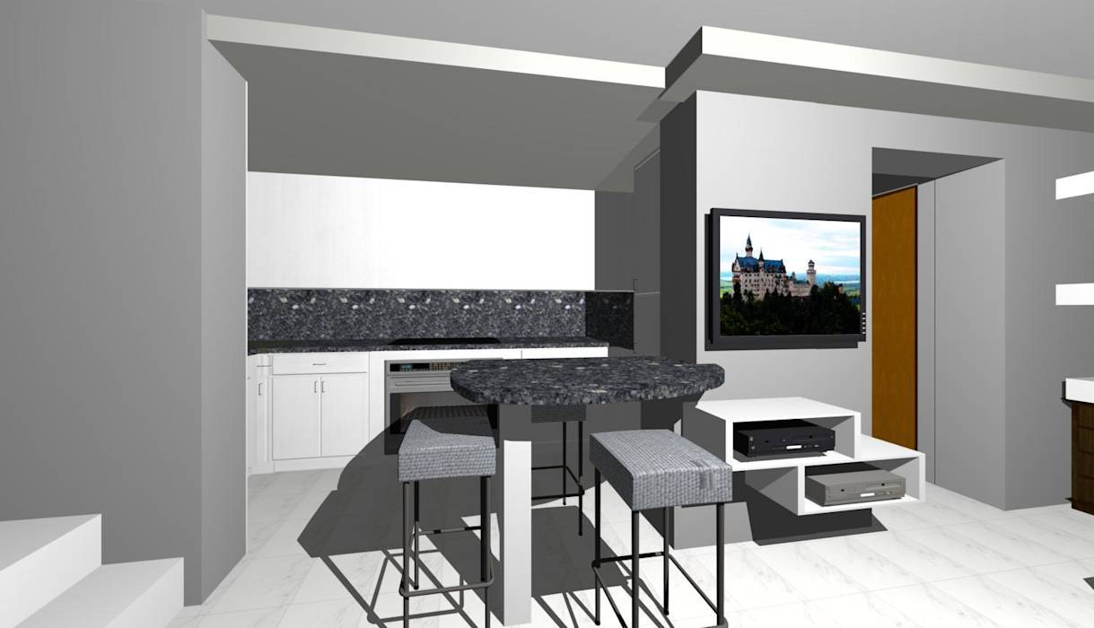 Foto di cucina in stile in stile moderno : penisola cucina con mobile tv  homify