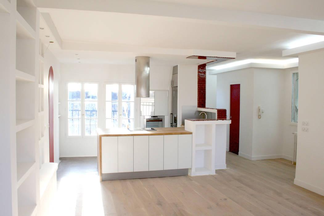 Deco Chambre Vert D Eau :  de style Moderne  Cuisine ouverte sur la salle à manger sur homify