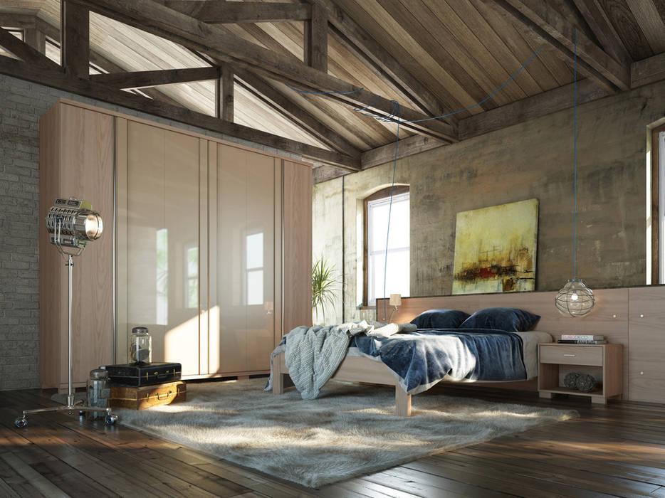 Projekty, translation missing: pl.style.sypialnia.eklektyczny Sypialnia zaprojektowane przez Grand Mobile