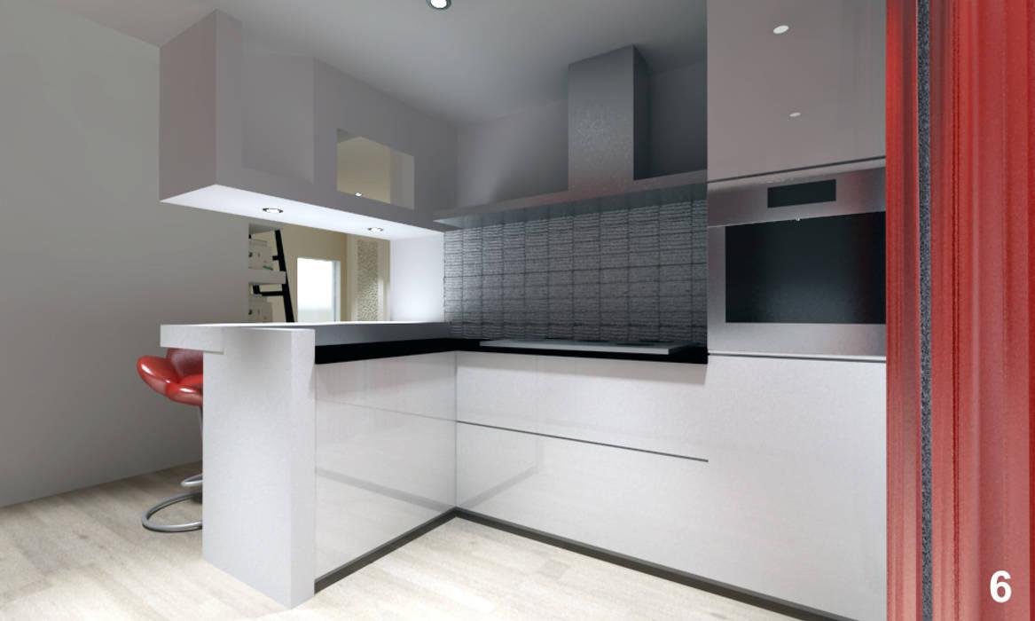 Foto di cucina in stile in stile moderno vista dell for Piani di progettazione dell angolo cottura