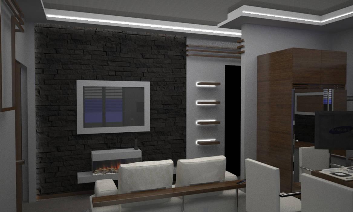 Foto di soggiorno in stile in stile minimalista casa l for Casa stile minimalista