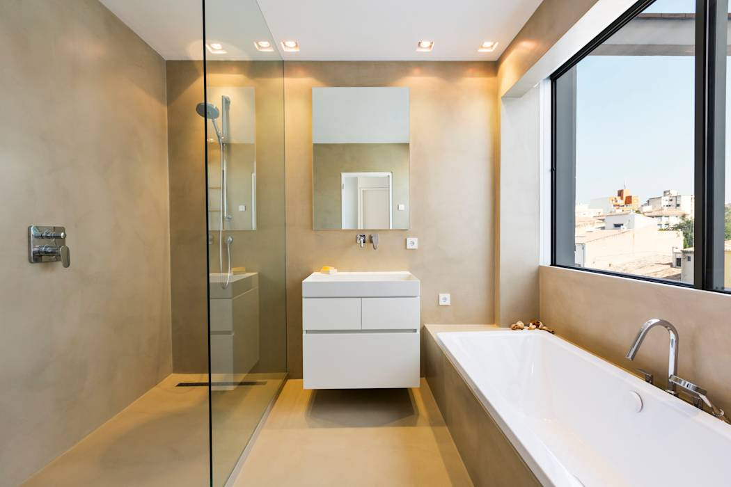 Fotos de ba os de estilo moderno apartamento kw santa for Mueble de cocina con pileta