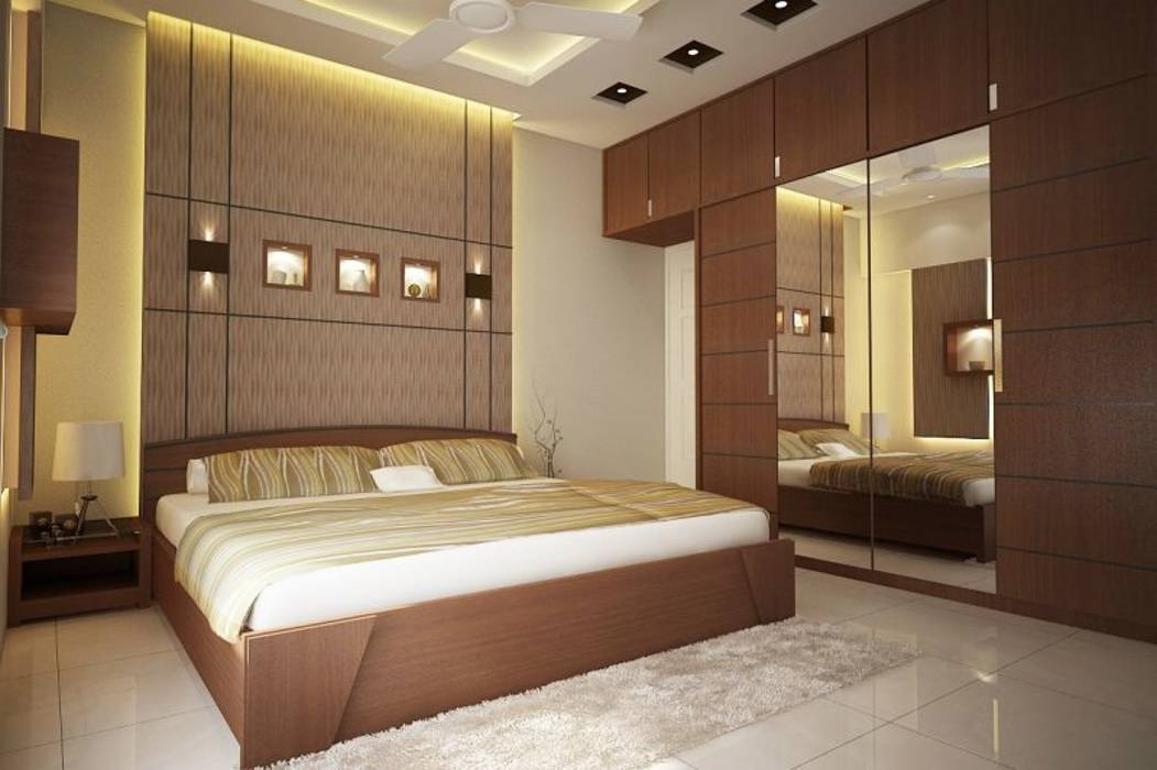 Modern bedroom photos apartment at ajmera infinity homify for Bed interior design picture