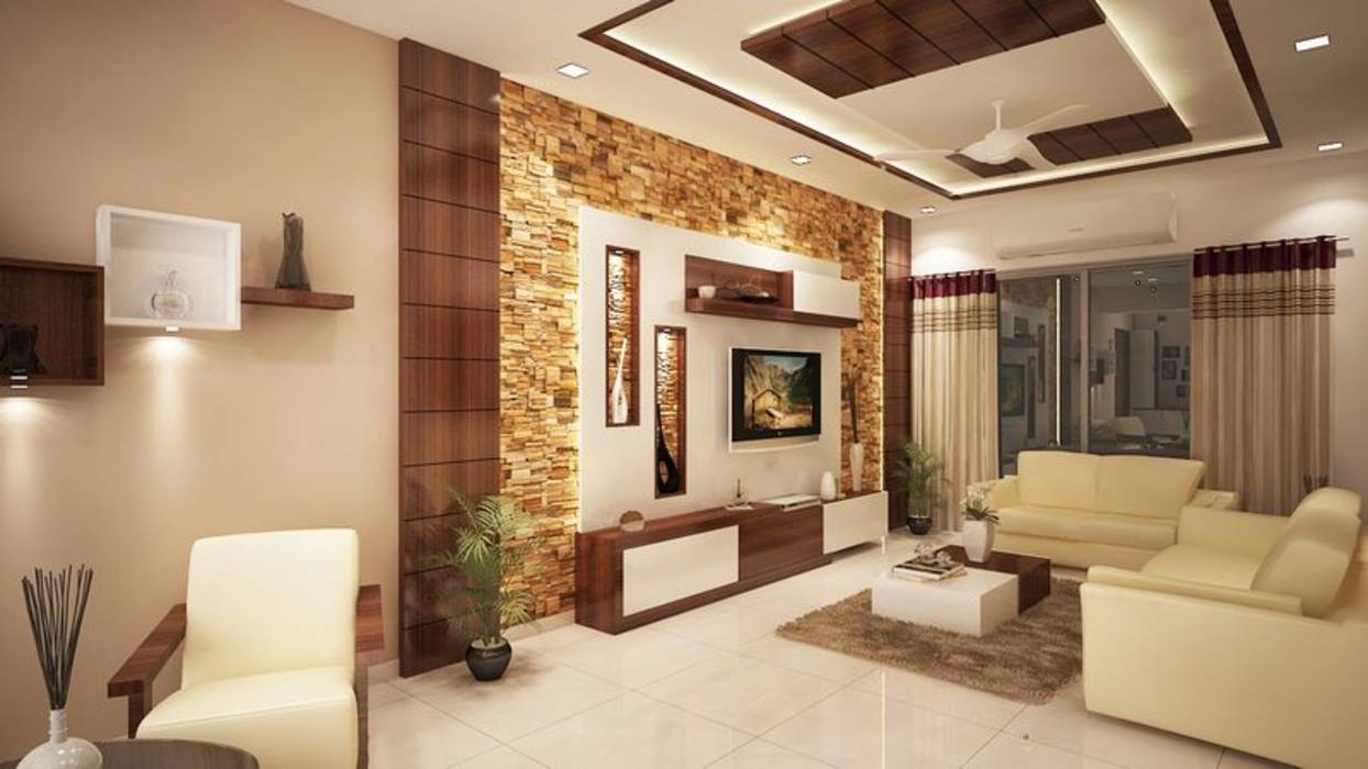 Modern living room photos 4 bedroom apartment at sjr for Interior design for living room chennai