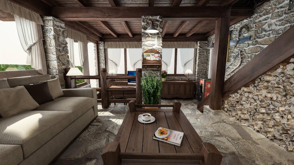 foto di soggiorno in stile in stile country casa in