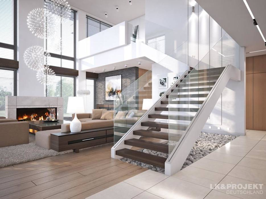 Salas / recibidores de estilo moderno por LK&Projekt GmbH