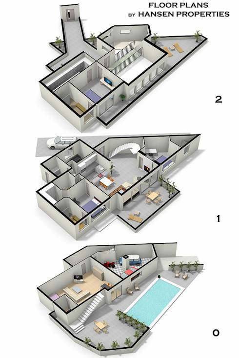 3 casas con alberca y sus planos inspiraci n total for Medidas de una alberca pequena