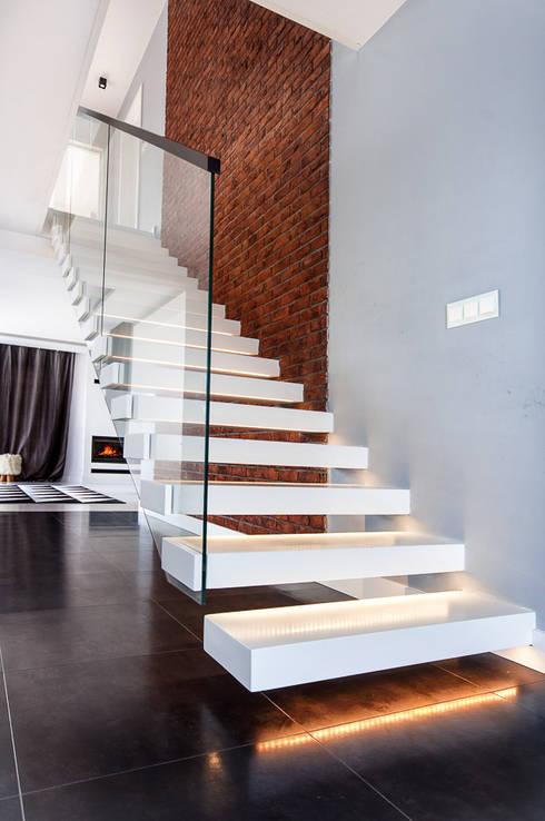 SCHODY  Wspornikowe WS-20: styl translation missing: pl.style.korytarz-hol-i-schody.nowoczesny, w kategorii Korytarz, hol i schody zaprojektowany przez KAISER Schody Sp. z o.o.
