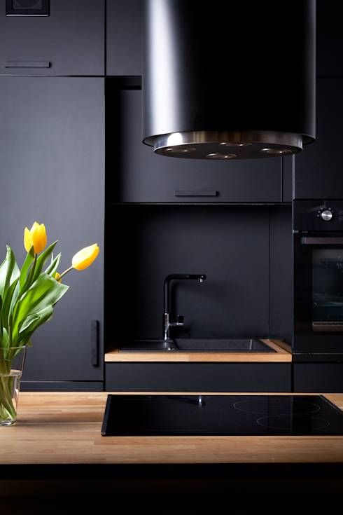 Czarna kuchnia  10 aranżacji -> Kuchnia Czarna Mat