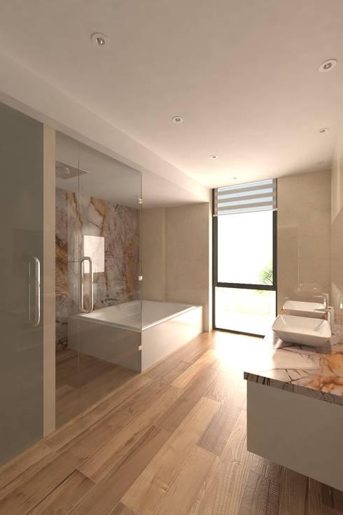 Baño de alcoba principal: Baños de estilo moderno por Area5 arquitectura SAS