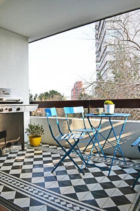 DEPTO. 34 : Terrazas  de estilo translation missing: cl.style.terrazas-.moderno por ESTUDIO BASE ARQUITECTOS