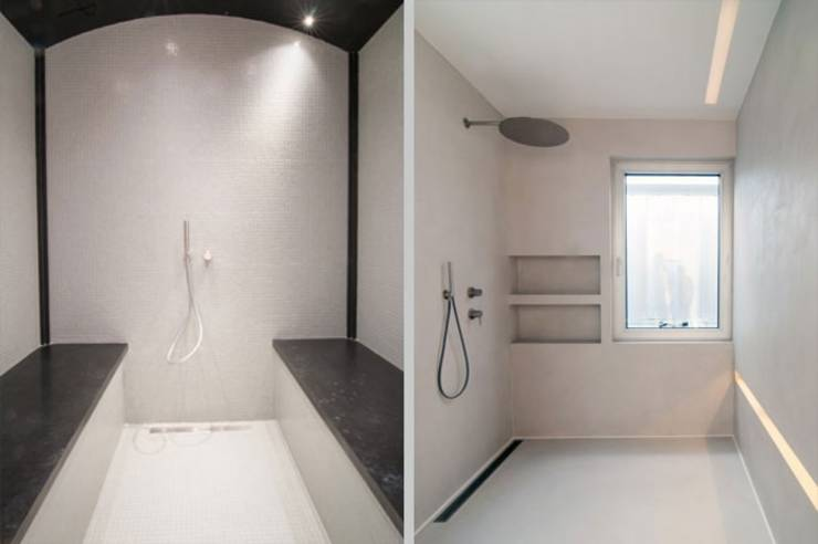 badezimmer feuchtr ume in betonoptik von fugenlose mineralische b den und w nde homify. Black Bedroom Furniture Sets. Home Design Ideas