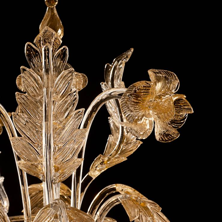 Lampadario in vetro di Murano - lampadario classico Rezzonico in oro e ...