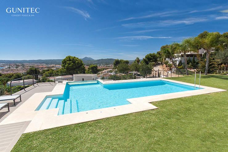 Piscina con pared de cristal de gunitec concept pools homify for Gunitec piscinas