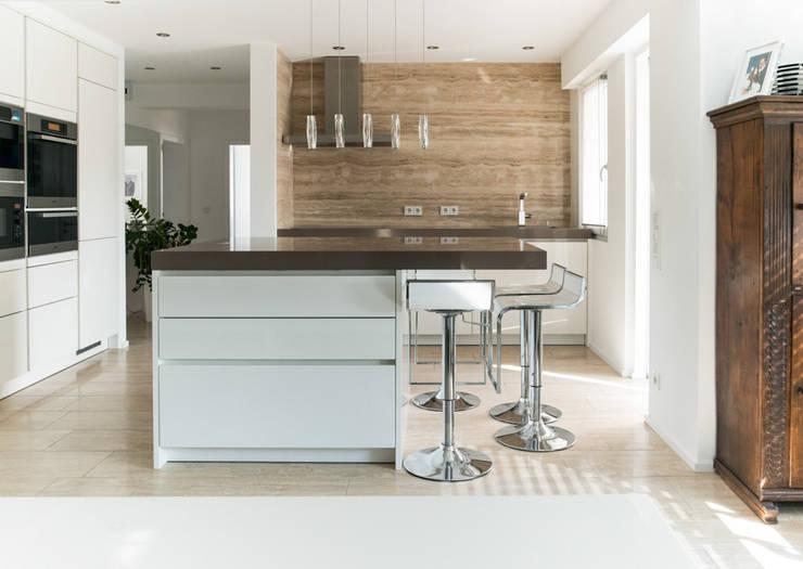 Küchenblock Design Quadra Helles Holz Lackfronten Composit