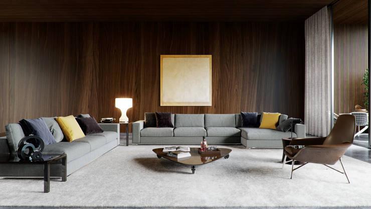 junggesellen wohnzimmer:moderne Wohnzimmer von Architectural Visualization