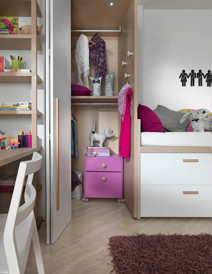 modernes m dchenzimmer mit viel stauraum von mobimio r ume f r kinder homify. Black Bedroom Furniture Sets. Home Design Ideas
