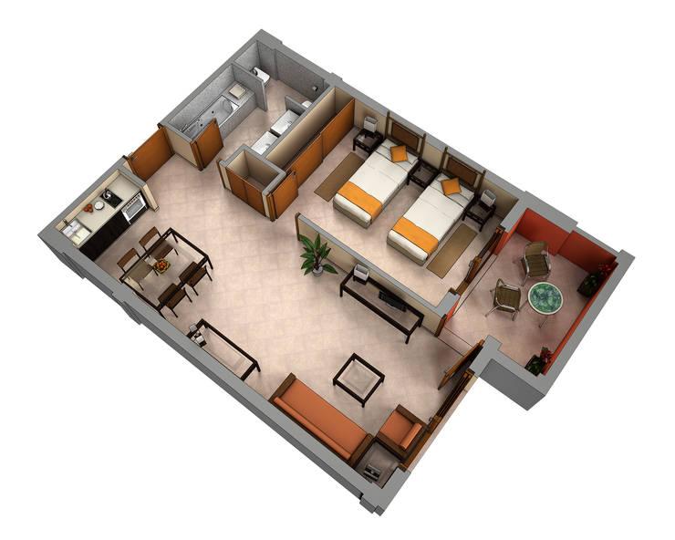 Planos de corte 3d de realistic design homify - Construir casas en 3d ...