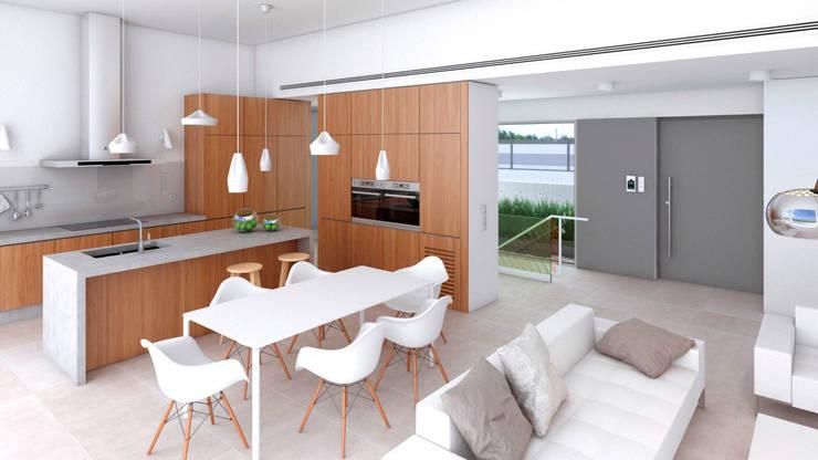 5 casas modernas de un piso con planos para inspirarte m s for Cocina salon comedor