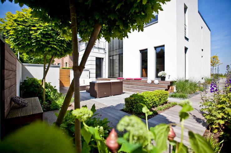 Blick auf die Terrasse: translation missing: de.style.terrasse.minimalistisch Terrasse von +grün GmbH