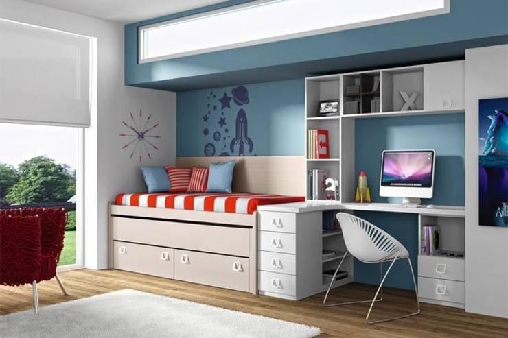 Mobiliario juvenil de sof s camas cruces homify for Cama nido con cajones y escritorio
