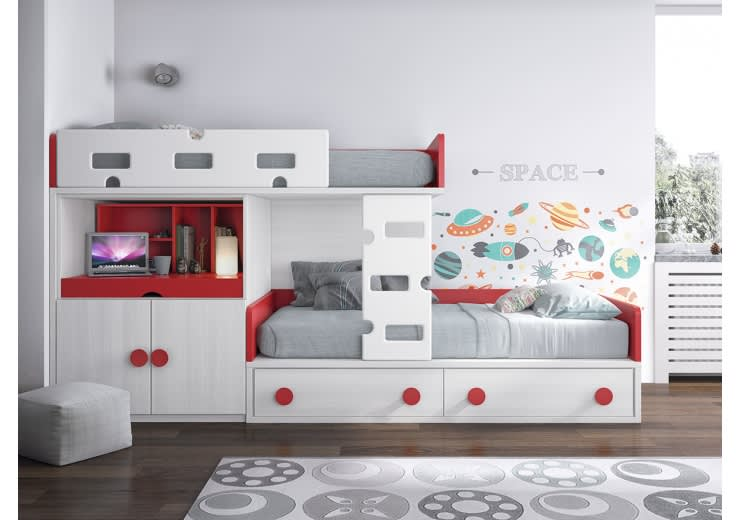 Decora la habitaci n de tu peque o con una litera tren - Sofa cama que ocupen poco espacio ...