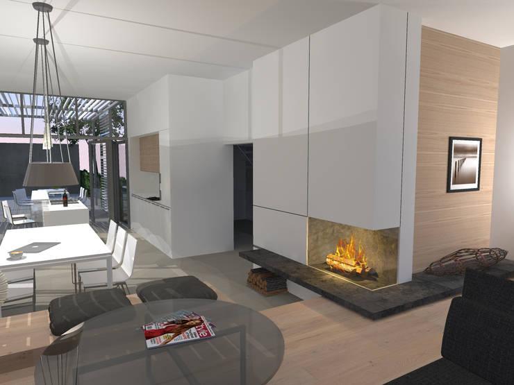 Küche Kochinsel Modern Weiß Matt Polierter Beton Boden