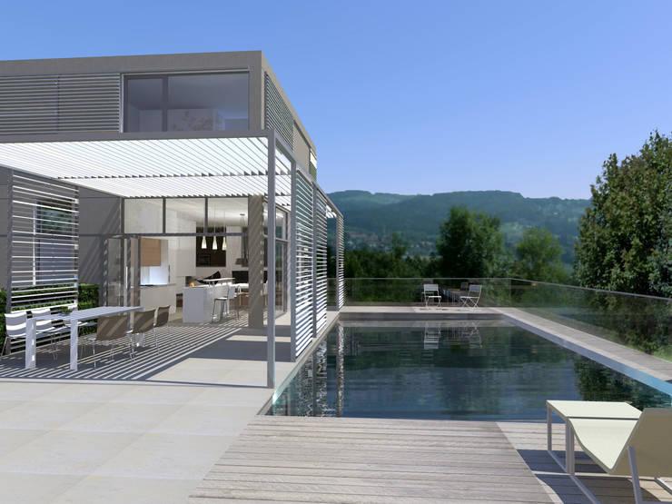 Treppen Modernes Haus Sichtbeton Wand Glas Geländer