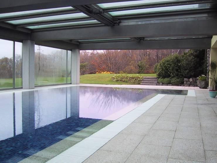 Sistemazione esterna di casa privata con piscina coperta - Sistemazione giardino ...