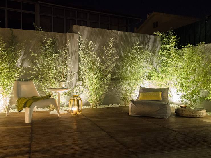 19 ideas para el patio con un resultado espectacular for Luces verdes para jardin