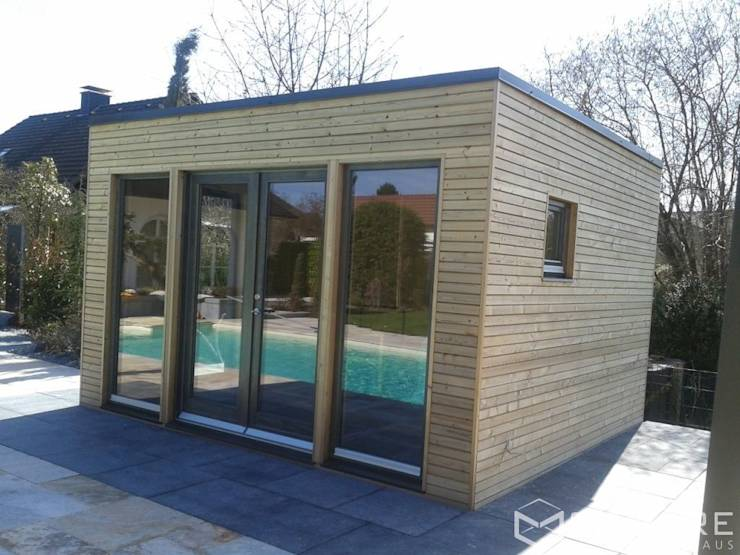 saunahaus square xl als poolhaus mit sauna fassade. Black Bedroom Furniture Sets. Home Design Ideas