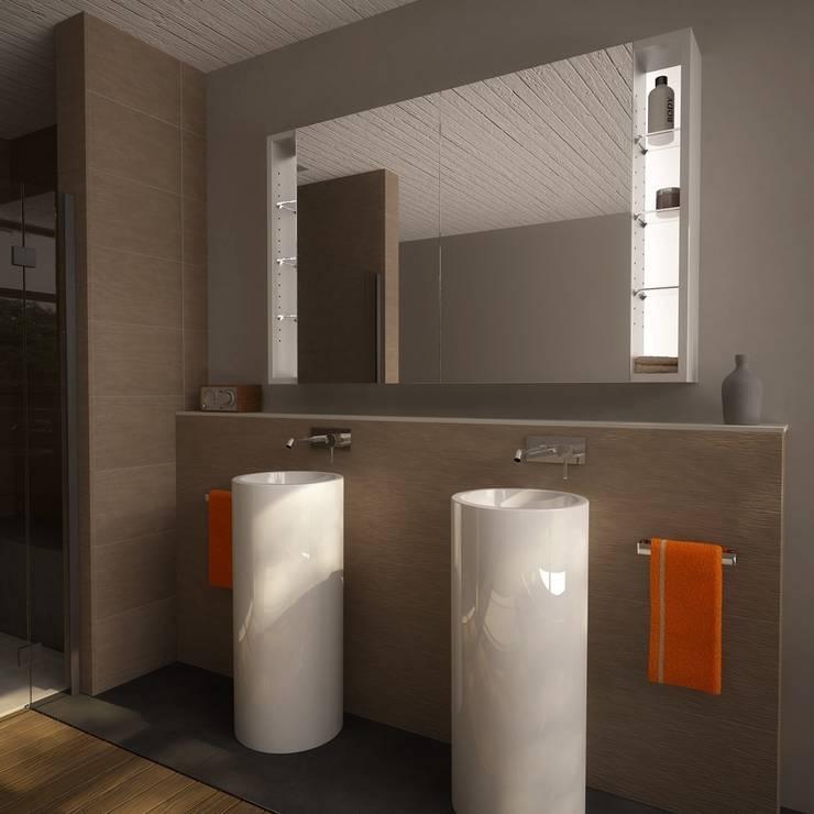Spiegelschrank Mit Beleuchtung Und Steckdose Anschließen : Spiegelschrank mit seitlichen Fächern Anbras (9000746) moderne